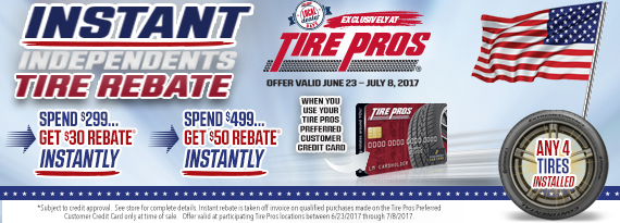Instant Independents Tire Rebate